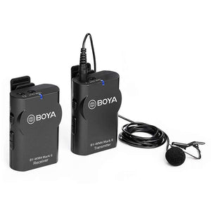 BOYA BY-WM4 || Wireless Lavalier Lapel Mic, Omnidirectional Mic System Audio Recording with Easy Clip On, 3.5mm Plug for Canon Nikon Sony DSLR Camera, Camcorder, iPhone 7 / 7 plus