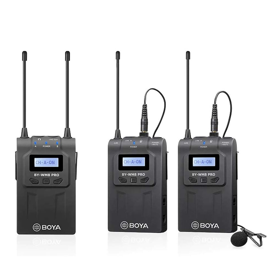 Boya BY-WM8 Pro-K2 UHF Dual-Channel Wireless Microphone System with One Receiver and Two Transmitter
