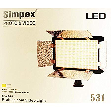 Simpex Professional 531 Led Video Lights for Videography & Shooting Photo Extra Bright Dual Colors LED with Battery & Charger