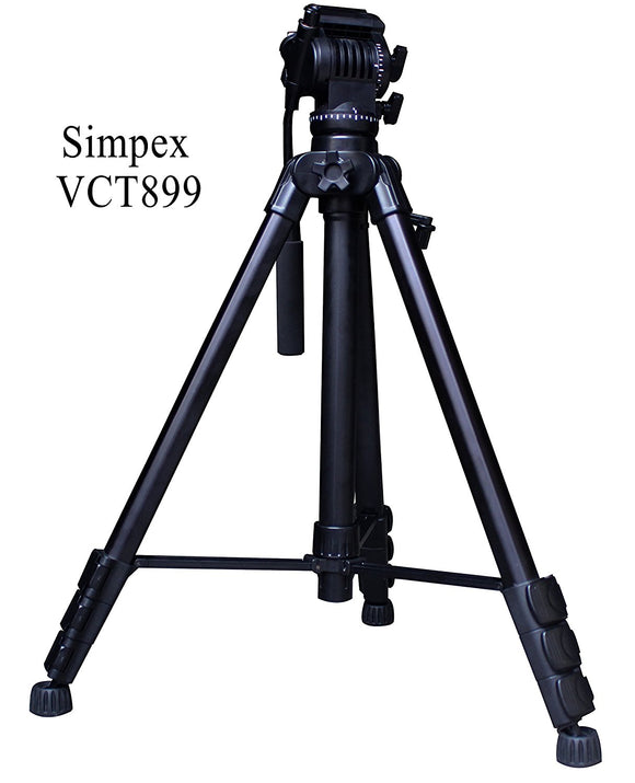 Simpex VCT899 heavy duty 8 Feet tall video and photo professional tripod, Made with aluminium material (Black Colour)