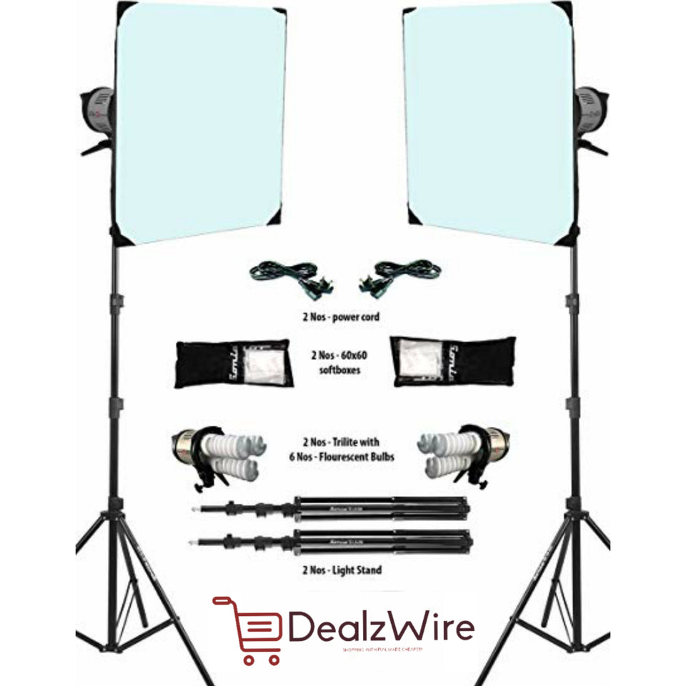 Simpex Trilite- Softbox Kit With 6 CFLs and 2 Stand (Complete Set)