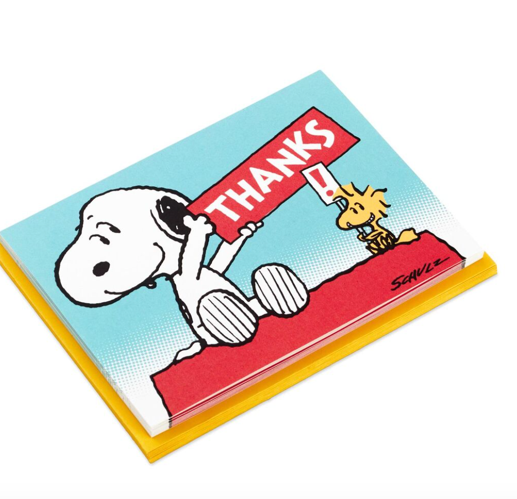 PEANUTS SNOOPY & WOODSTOCK BLANK THANK YOU NOTE