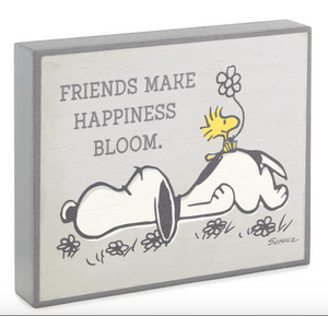 PEANUTS HAPPINESS BLOOMS QUOTE SIGN