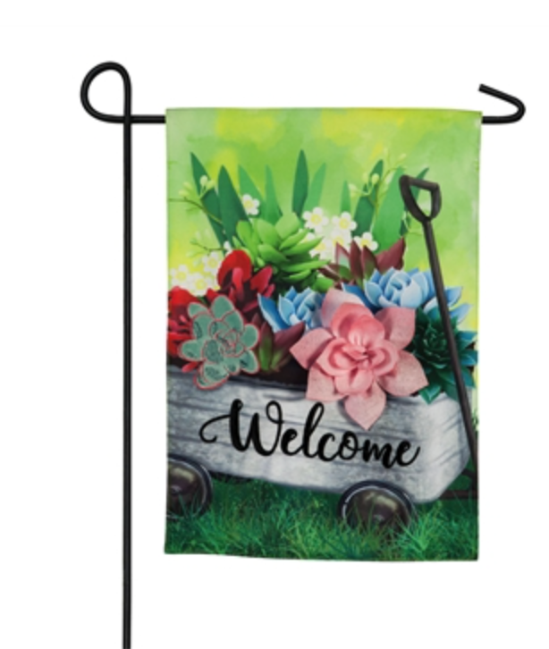 WAGON WITH SUCCULENTS GARDEN FLAG
