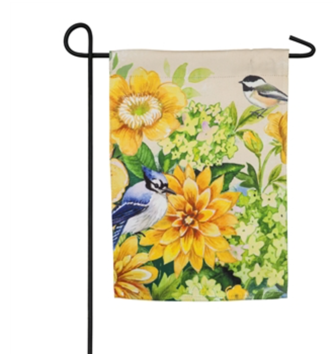 YELLOW FLOWERS AND BIRDS GARDEN FLAG