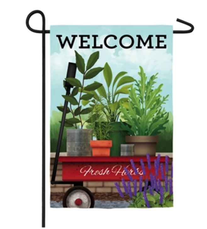 RED WAGON GARDEN FLAG