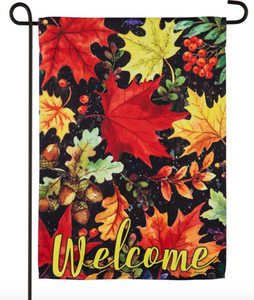 COLORFUL FALL LEAVES GARDEN SUEDE FLAG