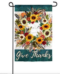 GIVE THANKS WREATH GARDEN SUEDE FLAG