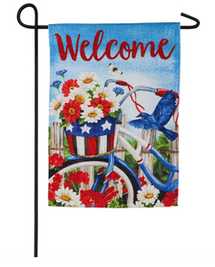 SUEDE PATRIOTIC BICYCLE GARDEN FLAG