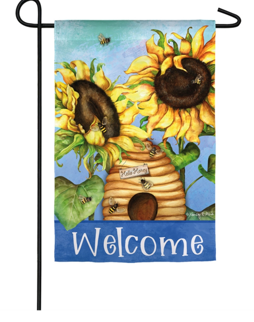 SUEDE HELLO HONEY SUNFLOWERS GARDEN FLAG