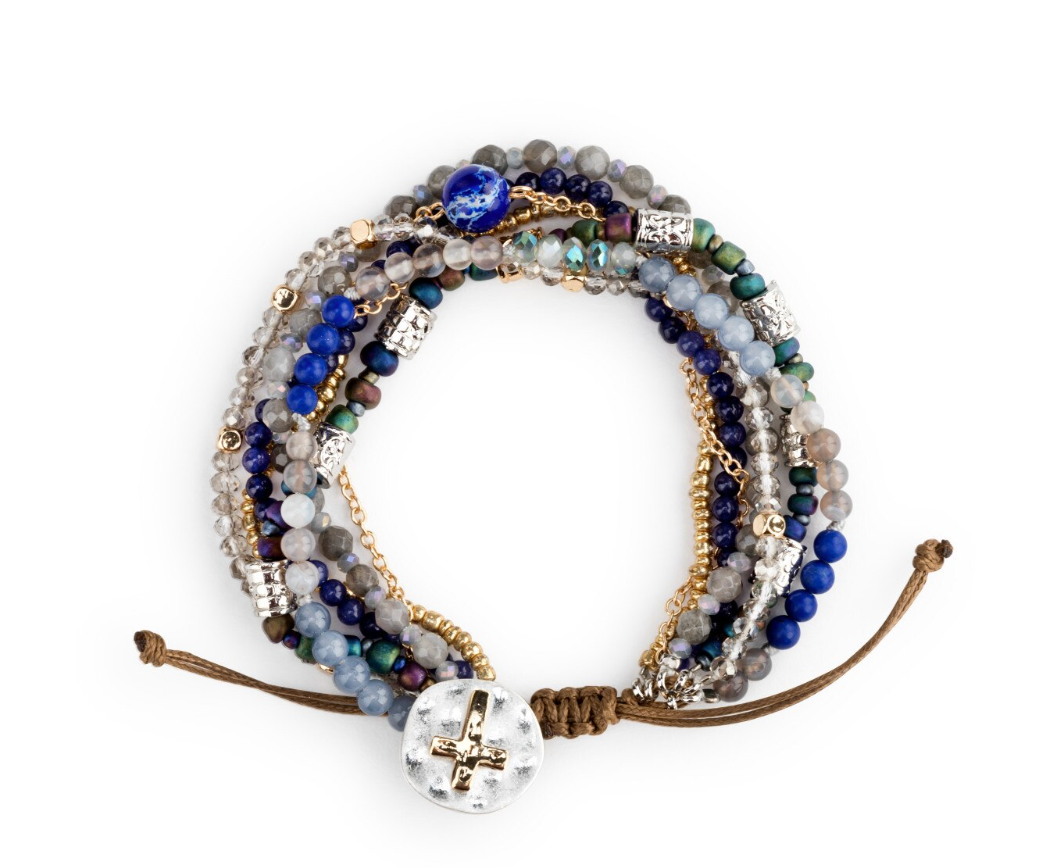 BEADED PRAYER BRACELET-INDIGO