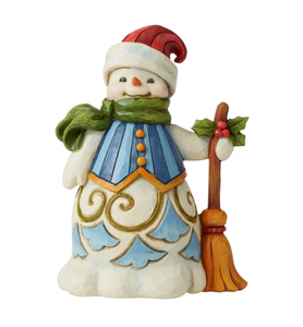 JIM SHORE SNOWMAN WITH BROOM FIGURINE