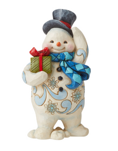 JIM SHORE STANDING SNOWMAN WITH PRESENT FIGURINE