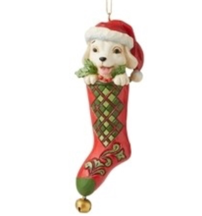 JIM SHORE DOG IN STOCKING ORNAMENT