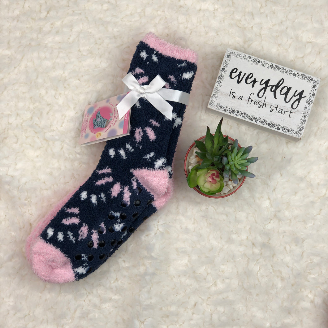 SHEA BUTTER SOCKS NAVY & PINK