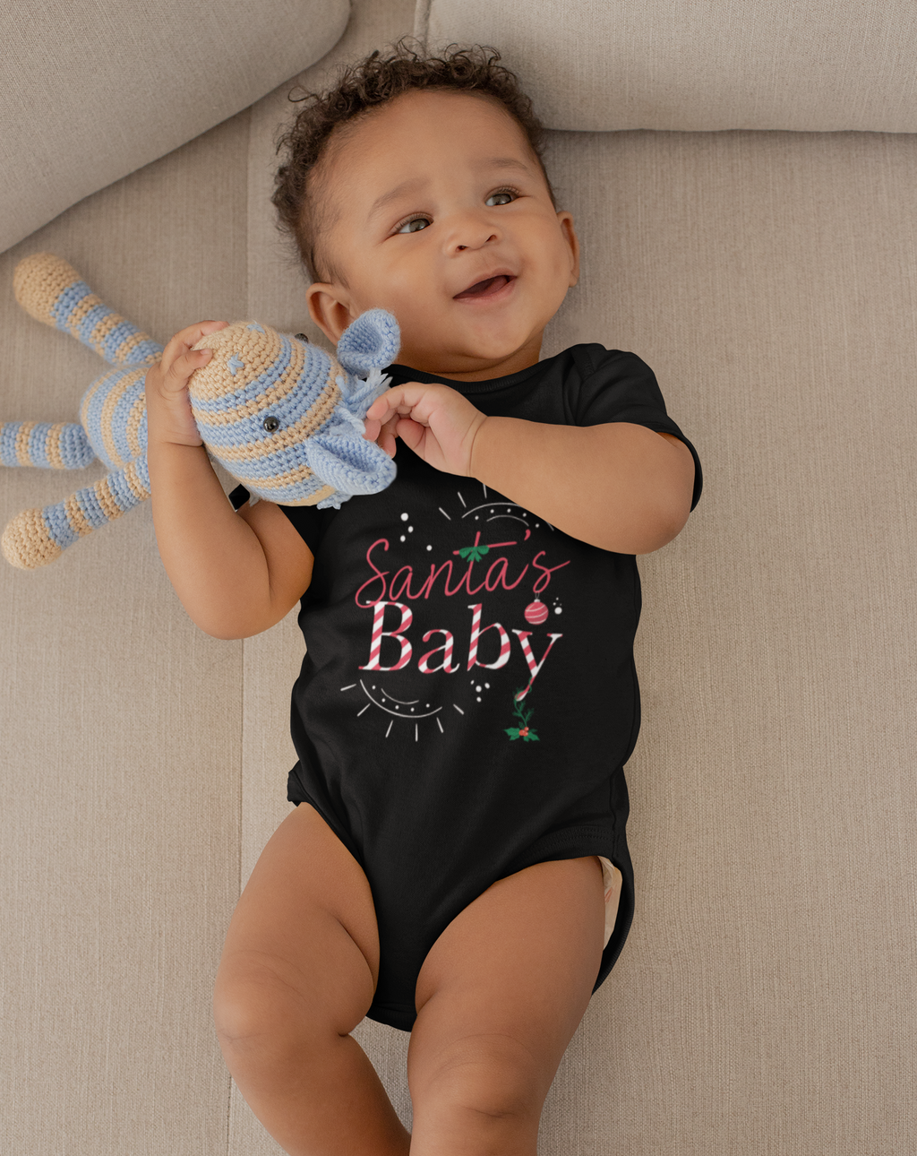 Limited Edition Santa's Baby Onesie - Black Love Boutique