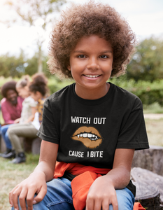 Limited Edition Watch Out Cause I Bite Youth T-Shirt - Black Love Boutique