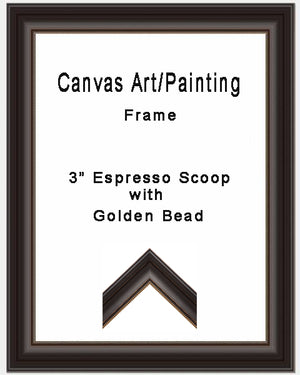 "3"" Espresso Scoop with Gold Bead - Painting/Canvas Art Frame"