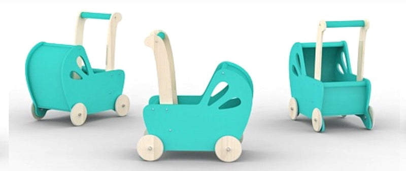 Wooden Pram - Teal in aqua