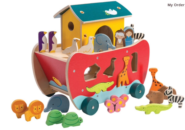 Tender Leaf Toys Wooden Noah's Shape Sorter Ark in multi colour print