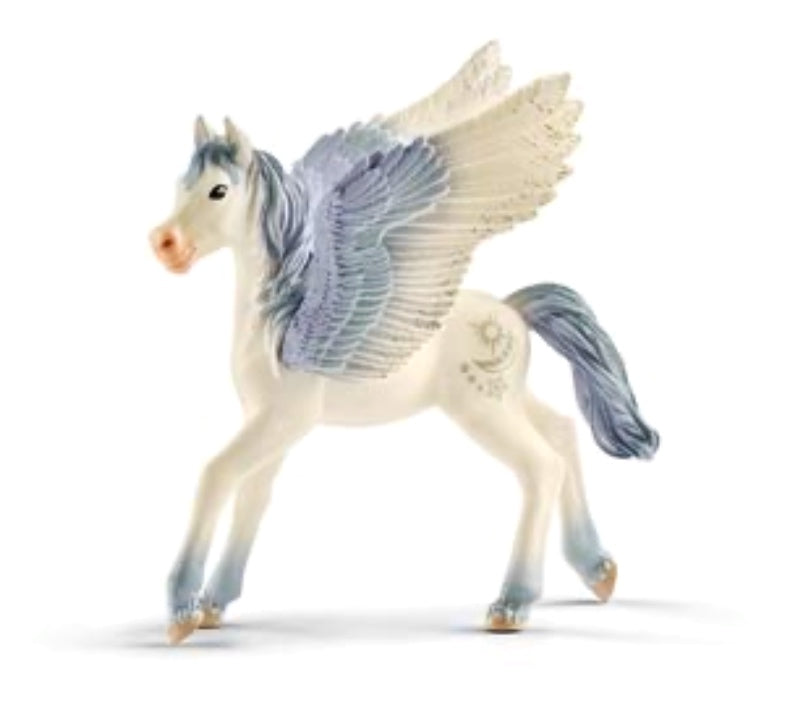 A beautiful Pegasus Foal figurine for imaginative play. Grey , white with silver sparkles. Standing 9.5 cm,  length 8 cm Recommended age 5-12 years