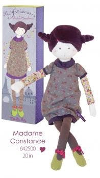 Madame Constance stands 49cm tall , wearing a purple floral dress, patterned legs and corduroy shoes with bow. Purple velour hair. A soft and cuddly best friend.