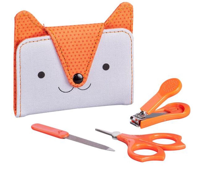 How cute! Very sweet manicure set for babies. Presented in a fox pouch. Great for small children.