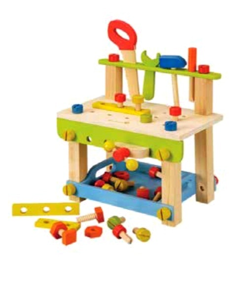 A small wooden workbench for the little handyman. Perfect to develop fine motor skills and encourage socialising and sharing as friends can play to. Recommended age 3+