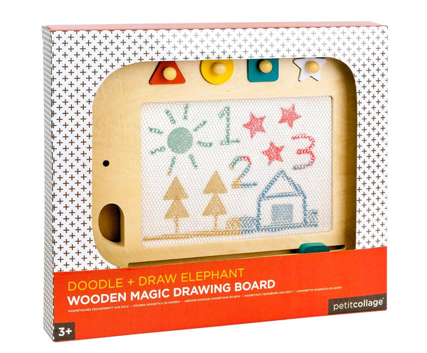 A beautiful wooden board awaits hours of creative fun. The attached magnetic pen is perfect for doodling or while the four magnetic stamps can create designs.