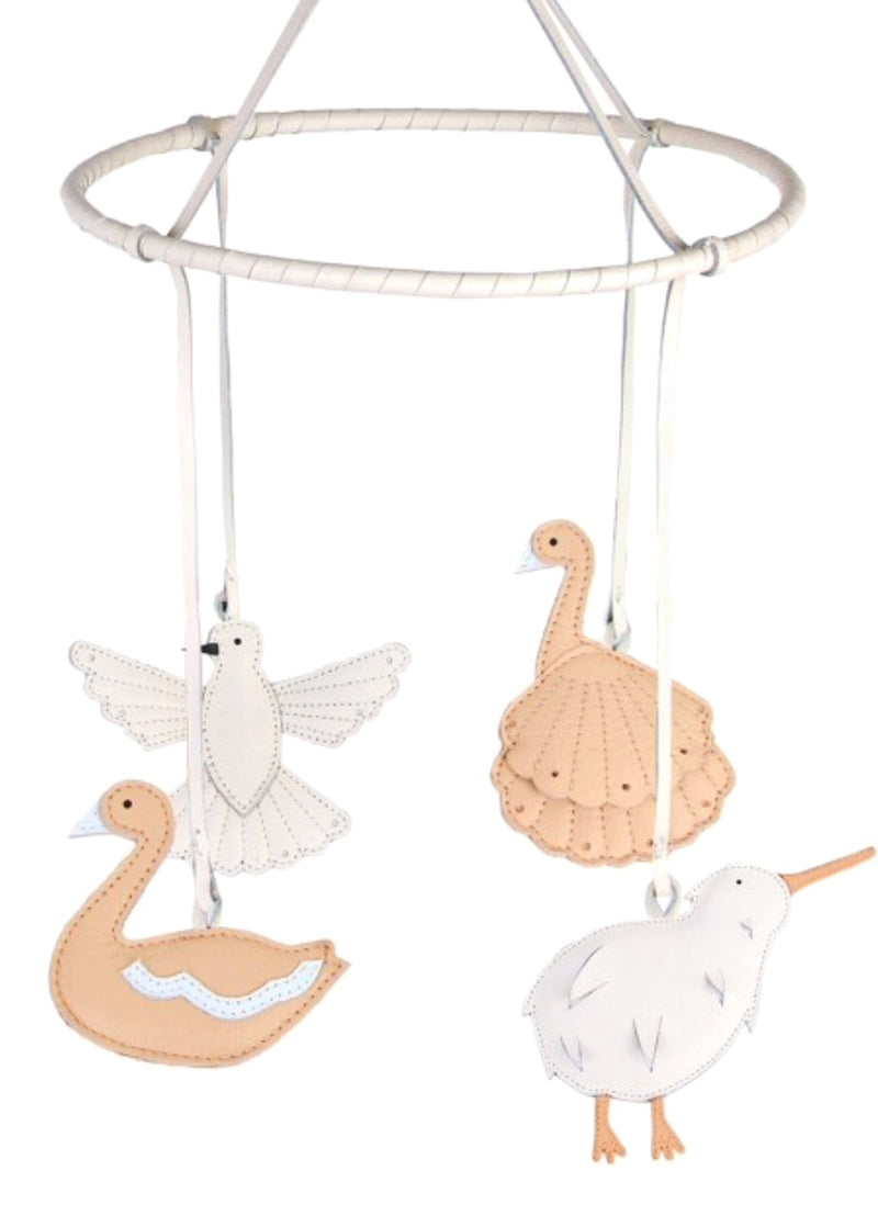 Donsje leather Bird mobile is beautiful for any nursery. $ exquisite birds floating in the air.