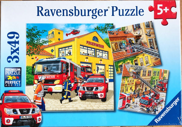 Ravensburger - Jigsaw Puzzle, 3 x 49 Pieces, Fire Brigade Run