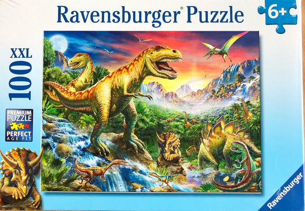 A detailed Jigsaw puzzle representing dinosaurs. Recommended age 6+ Puzzle size 49 cm x 36 cm