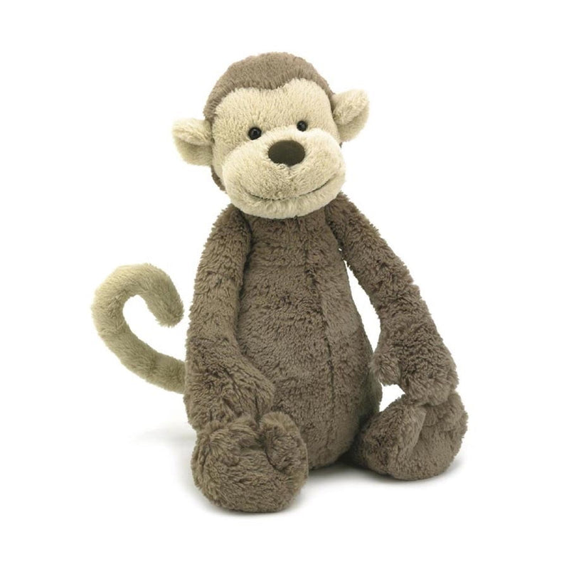 This cheeky yet gorgeous monkey has a long curly tail perfect to hold on to and take around on adventures! Such soft material and perfect for cuddling