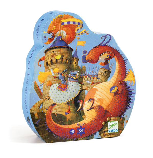 Djeco - Silhouette Jigsaw Puzzle Valliant & The Dragon 54 piece in multi colour print