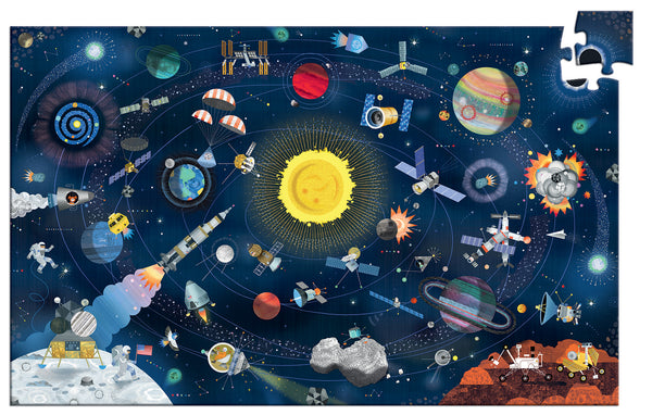 Djeco 200 piece Space jigsaw puzzle. Recommended age 7 + and features illustrations of space activity. Fantastic for any child interested in space.