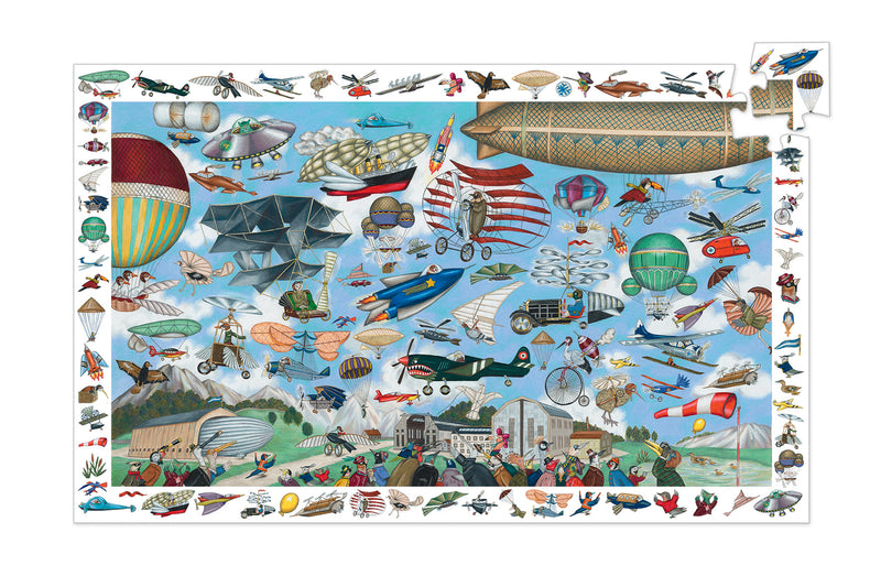 Djeco jigsaw puzzle 200 piece Aero club is wonderful. An illustration full of aero action  featuring anything that can fly.  The picture border adds another element after completing the puzzle. Find all the mini pictures in the puzzle.