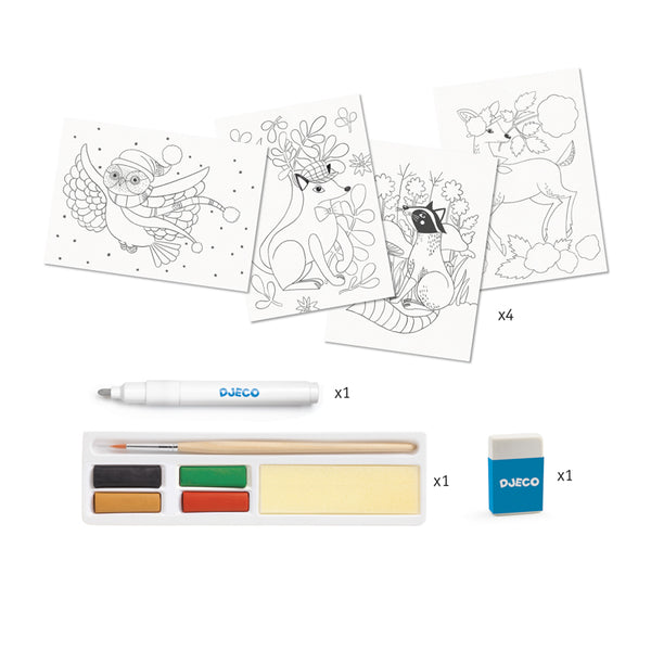 Djeco - Art set - Magic Watercolours, Dandy of the Woods