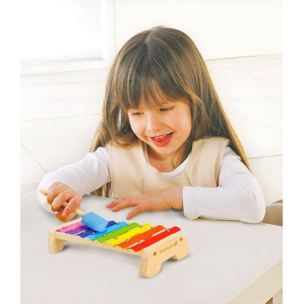 A wonderful first Xylophone for little musicians. Wooden base with metal keys length 24 cm x 12 cm x 5 cm Eight brightly coloured bars produce different sounds for your child to practice recognising musical notes as well as hand- eye coordination to hit each bar in the right place. Recommended age 3 +