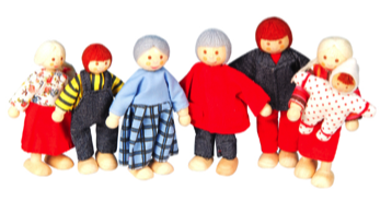 A picture of the Discoveroo doll family which includes 7 pieces. Recommended age 3 +
