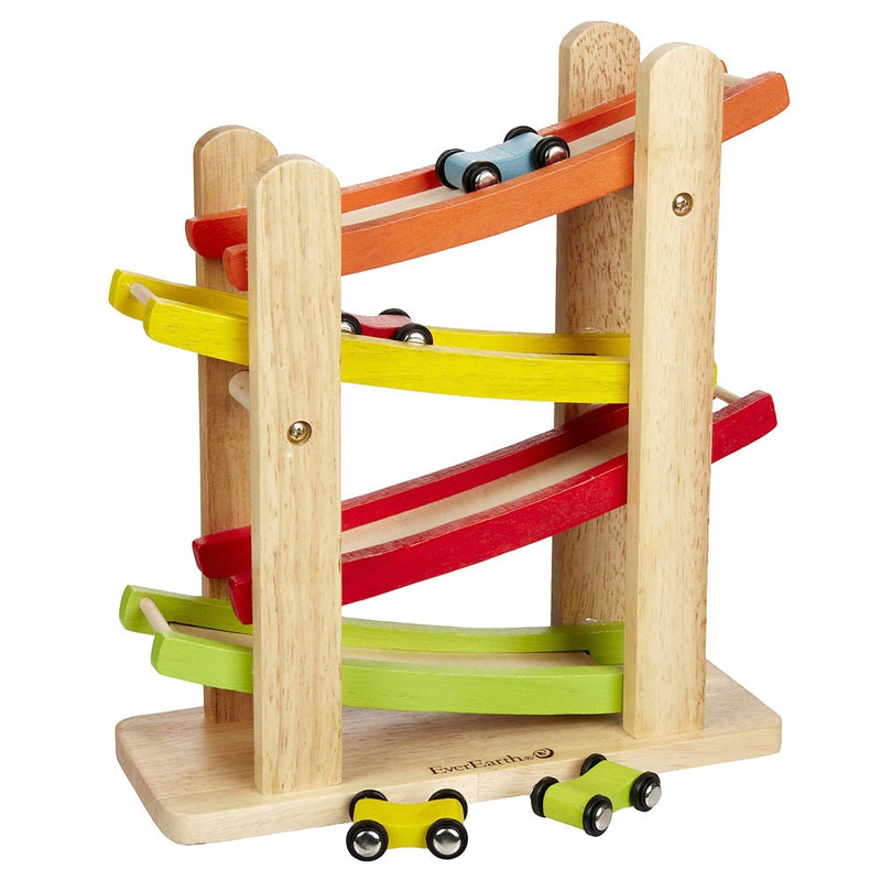 Super popular Wooden Ramp Racer by everEarth. Great item for busy little people. Recommended for 18mths + . Included 1x ramp, 2 single cars , 1 x double car. Great fun and very portable.