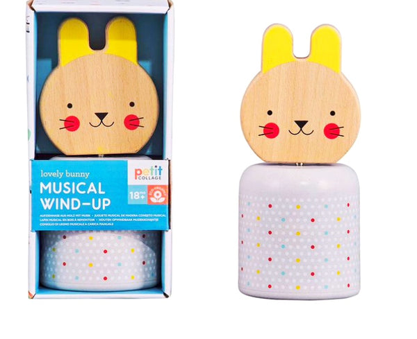 Petit Collage - Wooden Bunny Wind -Up Musical