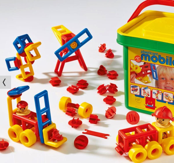 Mobilo Junior bucket is a great building set for children age 3-8 years. Open ended building for children. Made in Germany