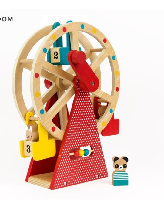 Take your three animal friends for a ride on this beautifully designed and stylish wooden Ferris wheel. Turn the handle and watch this big wheel spin! Use the wooden bead abacus to count the rides, ticket holders or number of spins.