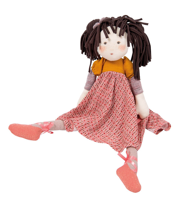 A beautiful and sweet rag doll. Prunelle is wearing a removable pattered dress with ribbon detail around the ankles