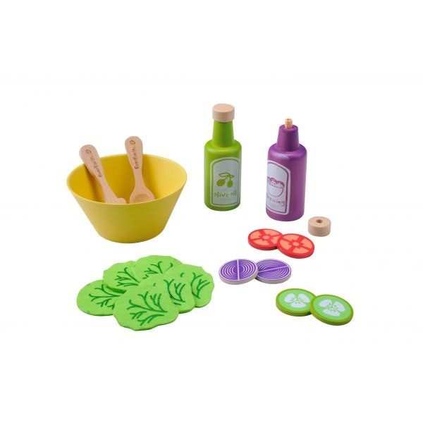 This wooden salad set lets children create their wonderful meals. Using lifelike tomatoes, onions, lettuce, cucumber, dressings and olive oil every child can cook up something delicious. A perfect addition to any kitchen set  Recommended age 3+
