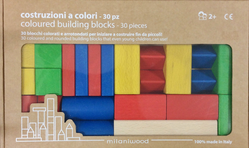 Milaniwood building blocks 30 pieces are a colourful and smooth textured set for children age 2 +.