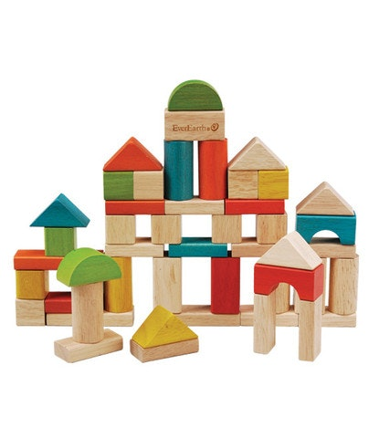 Fifty quality, smooth building blocks in a variety of sizes and colours. Boost your child's creativity and dexterity as they learn to build from their imagination. These wooden blocks are presented in a shape sorting barrel. Recommended age 18 months . Interstate & remote areas may require a postage quote.