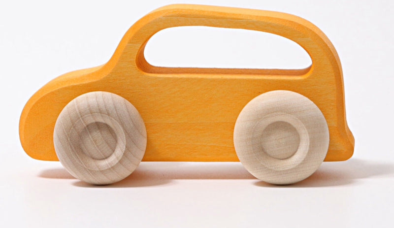 Grimms -5 Wooden Slimline cars in multi colour print