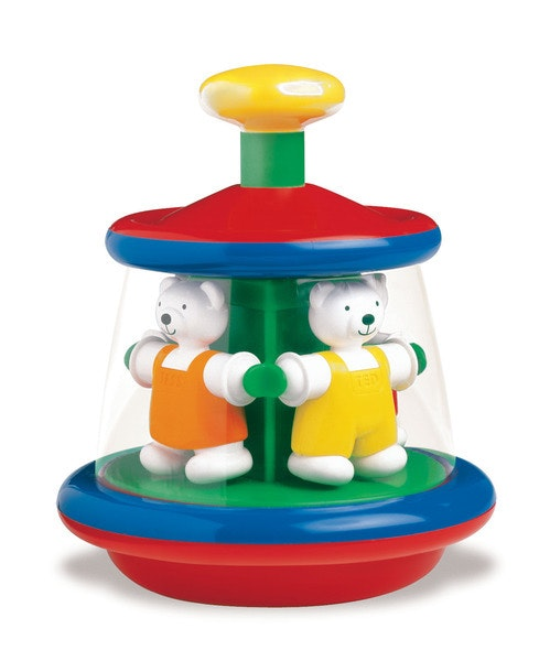 A gorgeous toy from Ambi. Push down the yellow top and all the Teds spin around. Recommended age 1+