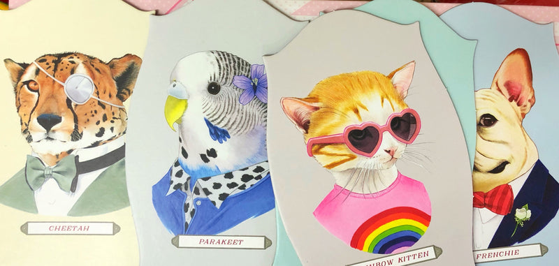 Memory Game Animal Portraits in multi colour print